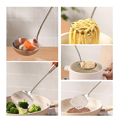 Shukii 304 Stainless Kitchen Utensils Set Spatula Spoon Colander Household Set Cooking Wooden Handle Spoon Kitchen Supplies (Soup Spoon Ladle)