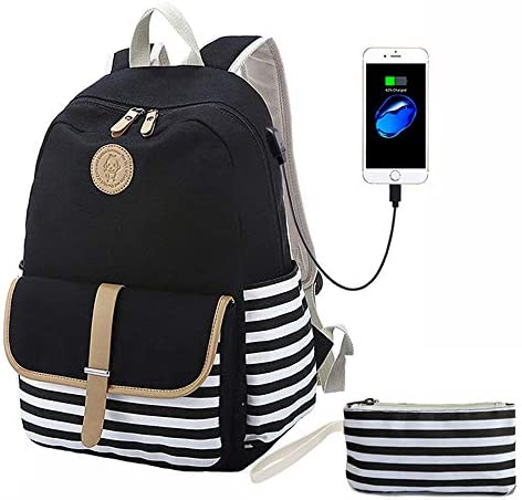 Lmeison Canvas Backpack, Black Striped Bookbags with USB Charging Port Clutch Purse, School Backpack for Teens Girls Computer Backpack Fit 14 Laptop Travel Rucksack