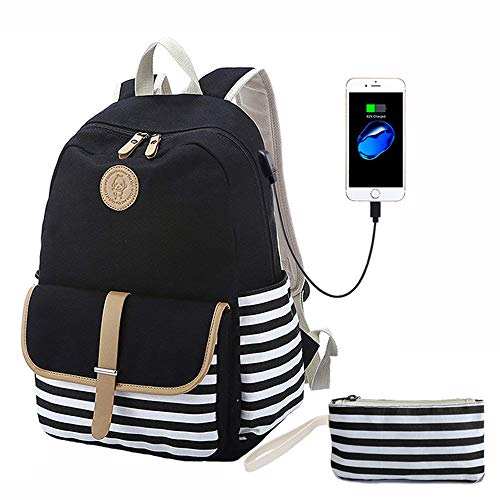 Canvas Backpack, Black Striped Bookbags with USB Charging Port with Clutch Purse, School Backpack for Teens Girls Computer Backpack Fit 14