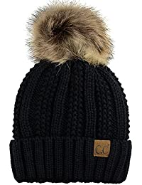 Thick Cable Knit Faux Fuzzy Fur Pom Fleece Lined Skull Cap Cuff Beanie 399ef51671e