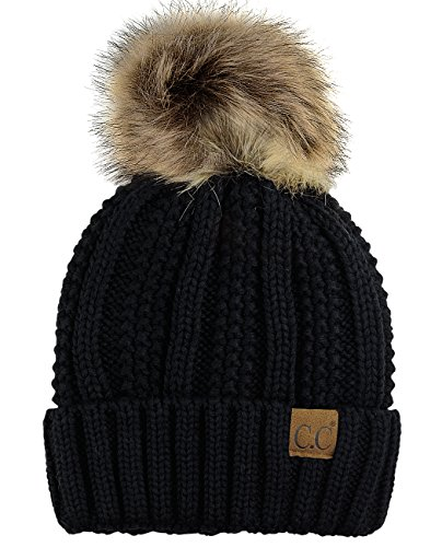 C.C Thick Cable Knit Faux Fuzzy Fur Pom Fleece Lined Skull Cap Cuff Beanie, Black ()