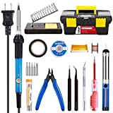 Soldering Iron Kit Electronics 60W Adjustable Temperature Soldering Iron, 5pcs Soldering Iron Tips, Solder, Rosin, Solder Wick, Stand and Other Soldering Kits in Portable Toolbox