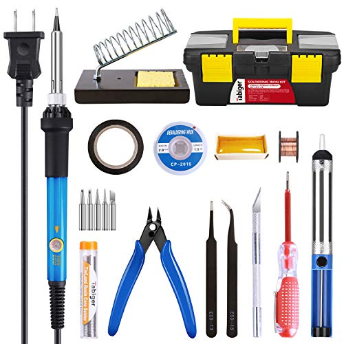 (Soldering Iron Kit Electronics 60W Adjustable Temperature Soldering Iron, 5pcs Soldering Iron Tips, Solder, Rosin, Solder Wick, Stand and Other Soldering Kits in Portable)