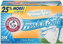 Arm & Hammer  33200-14997 Fresh N Soft Fabric Softener Sheet  Clean Burst  1 lb (Pack of 6)
