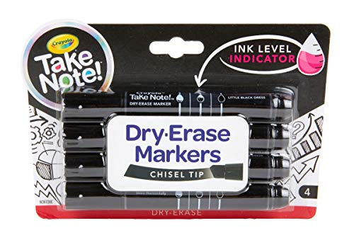 Crayola Low Odor Dry Erase Markers, Chisel Tip, Office & Classroom Supplies, 4Count -