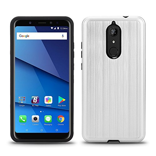 BLU Vivo XL3 Plus case, (V0210WW) 6 inch case, [ New Frontier Wireless], Tough Hybrid + Dual Layer Shockproof Drop Protection Metallic Brushed Case Cover for BLU Vivo XL3 Plus (VGC Silver)