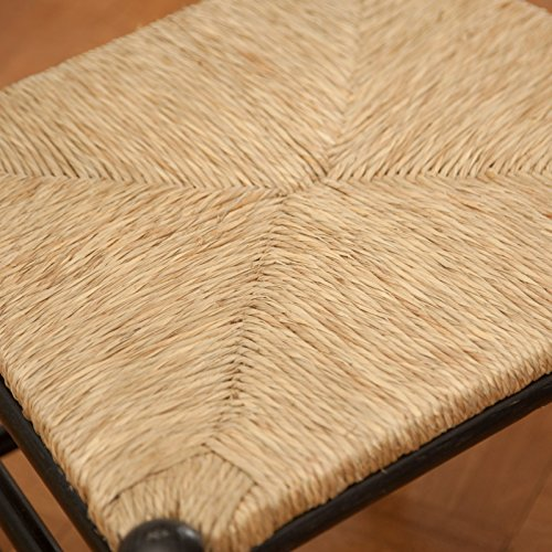 Dixie Seating 42 in. Woven Seat Ladderback Chair, Medium Oak , Beige