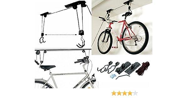 Soporte colgador para levantar bicicleta soporte bicicleta techo Garaje Polea Gancho: Amazon.es: Bricolaje y herramientas