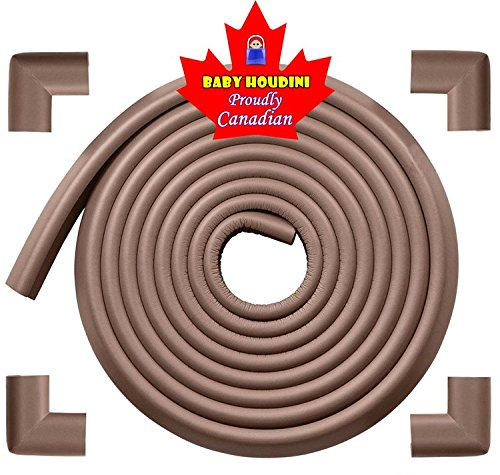Baby Houdini Child Safety Baby Proofing Edge & Corner Guard | Supreme Furniture Bumper Protection Safety Edge & Corner Cushions | Pre-Taped Corners | 15ft Edge Guard + 4 Corner Guards = 16.2 ft | Color: Coffee (Brown)