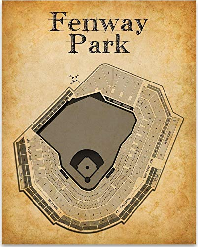 (Fenway Park Baseball Stadium Seating Chart - 11x14 Unframed Art Print - Great Sports Bar Decor and Gift Under $15 for Baseball Fans )