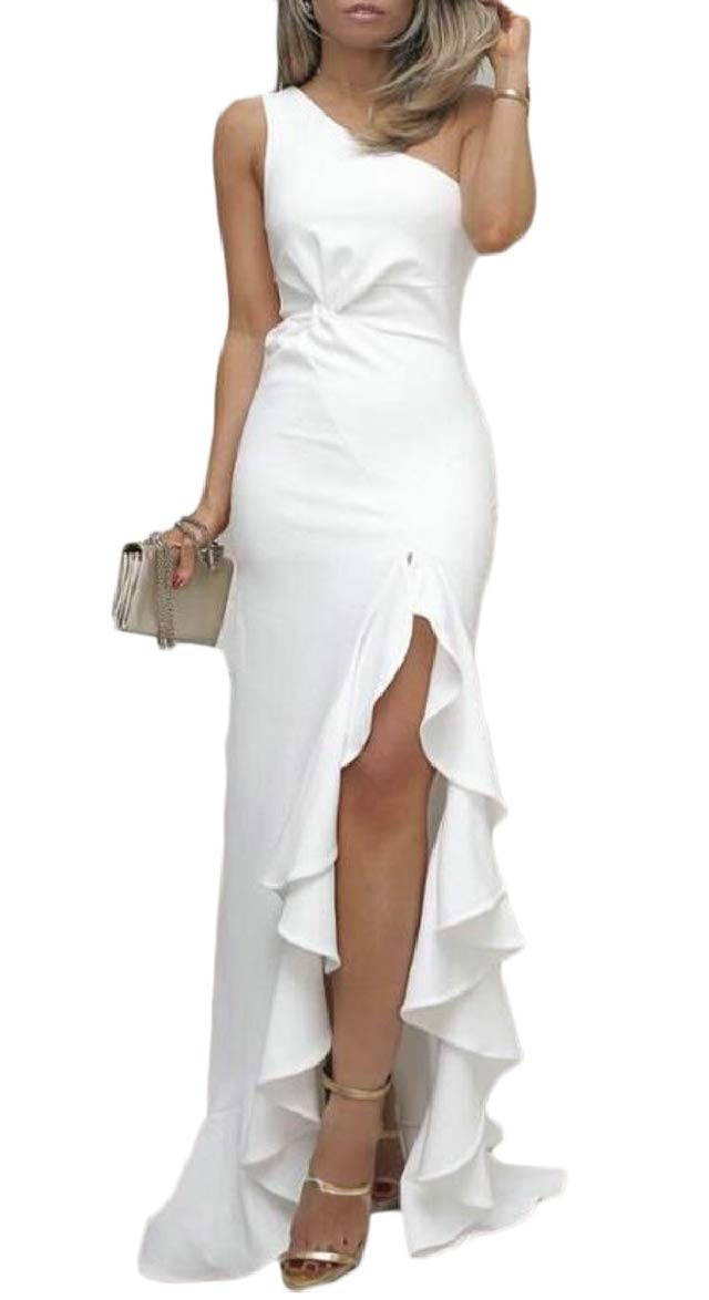 pujingge Women Evening Gown Mermaid Maxi Party One Shoulder Cocktail Prom Dress White S