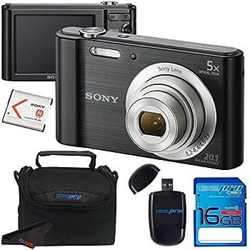 Sony Cyber-shot DSC-W800 Digital Camera (Black) + 16GB Memory Card + Accessory Bundle