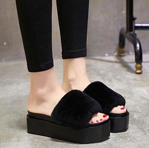 Zapatos con Pantuflas Pantuflas Gruesas esponjosa Inferiores Planas DANDANJIE Piel Lady Women sintética Negro Chanclas y Planos Zapatos caseros wRUqXR0Bg