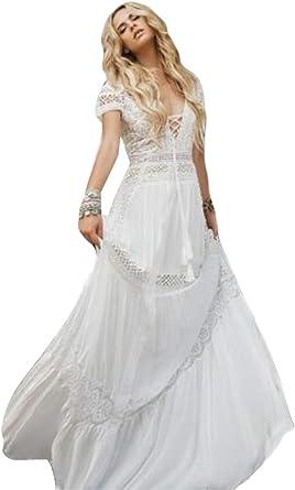 Wzw Vintage Bohemian Beach Wedding Dresses Deep V Neck Lace