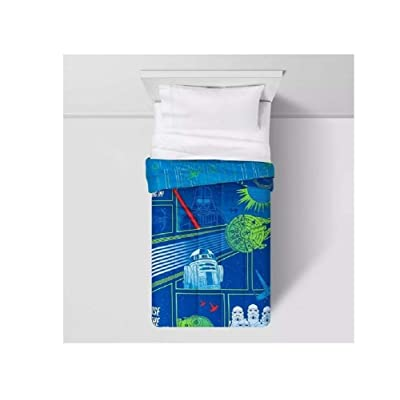 Jay Franco and Son Star Wars Kid's Glow-in-The-Dark Comforter Blue (Full): Home & Kitchen