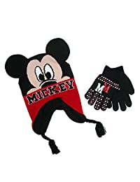 Disney Boy's Mickey Mouse Hat and Gloves Winter Set, Black