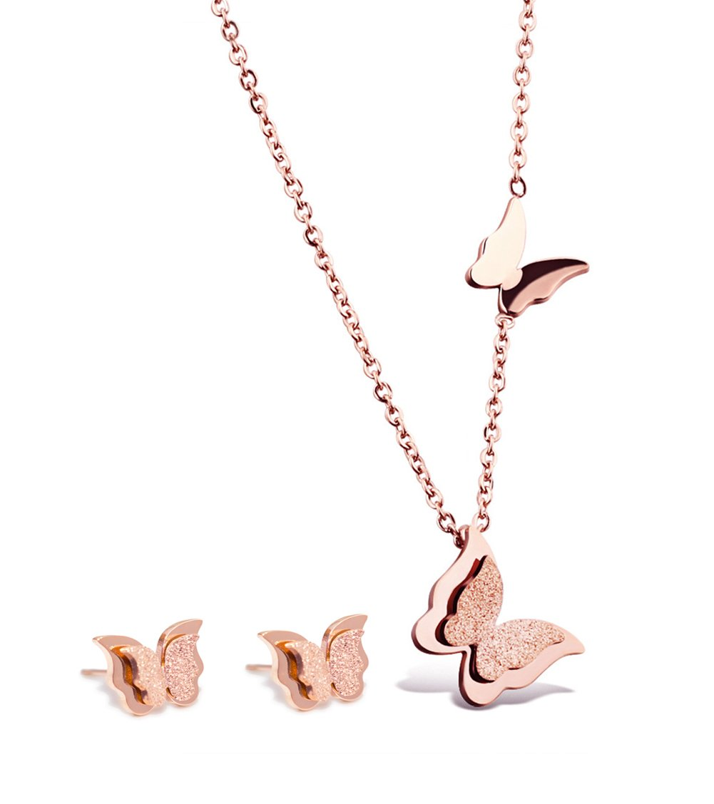 Rose Gold Plated Butterfly Necklace Stud Earrings Jewelry Set