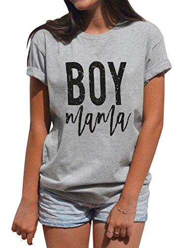 SCX Women Summer Simple Style Short Sleeve Letter Print Boy Mama Grey Loose Plus Size - Boy T-shirt Mamas