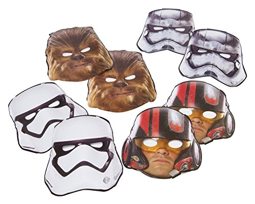 Star Wars Episode VII Masks, 8 Count, Party Supplies Novelty (Star Wars Chewbacca Costume)