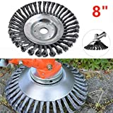 Weed Brush Trimmer Head, Joint Twist Knot Steel Wire Garden Weed Wheel Brush Lawn Mower Razors Universal Lawn Mower Eater Disc Trimmer, 8Inch and 6Inch (8Inch)