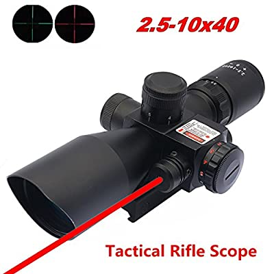 Aipai Rifle Scope Red Laser Tactical 2.5-10x40 Dual Illuminated Mil-dot w/ Rail Mount (12 Month Warranty)