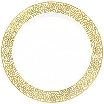 Amscan (Amsdd) Premium Plastic Plates 10\u0027\u0027 -White w/Gold  sc 1 st  Amazon.com & Amazon.com: Amscan (Amsdd) Premium Plastic Plates 10\u0027\u0027 -White w ...
