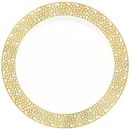Amscan (Amsdd) Premium Plastic Plates, 10'' -White w/Gold Lace