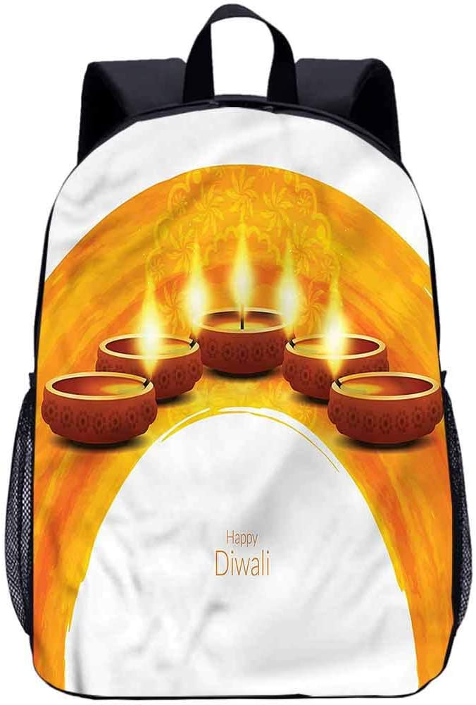 "Diwali 17"" School Backpack,Tribal Candle Composition Travel Backpack for Kids Adults"