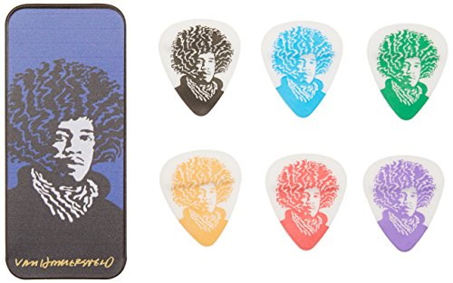 (Dunlop JVHPT03M John Van Hamersveld Jimi Pick Tin, Assorted, Medium, 6 Picks/Tin)