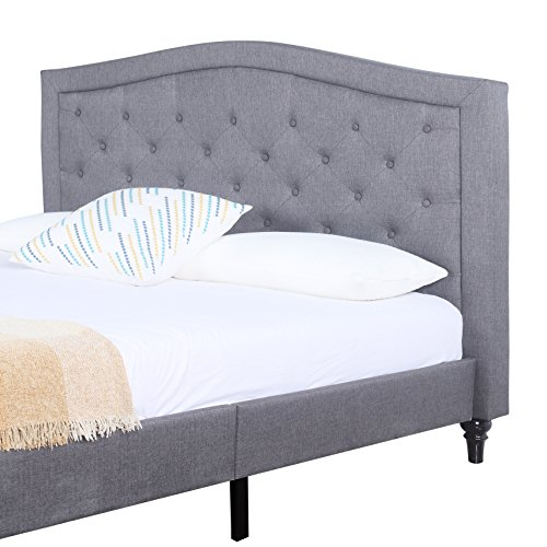 Classic Dark Grey Box-Tufted Fabric Bed Frame (King)