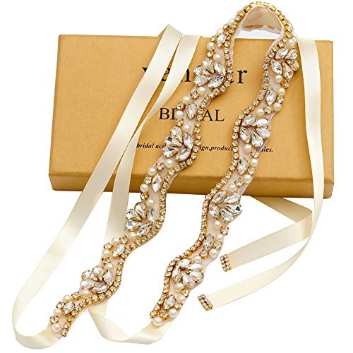 yanstar Handmade Rhinestone Belt Wedding Bridal Belt Sashes for Bridesmaid Dress (Gold-Ivory) (Wedding Gown Belt)
