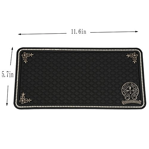 Santonila 29x 15cm Car Non-Slip Mat,Fashion Sticky Pad, Rhinestone Around And Exquisite pattern design,Non-Slip Mounting Pad For Cell Phone,Sunglasses, Keys and More-Black.