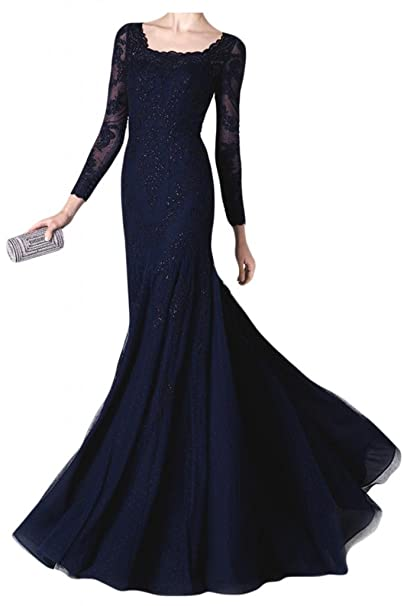 Vestidos de novia con estilo de manga larga de la Toscana por la noche larga de