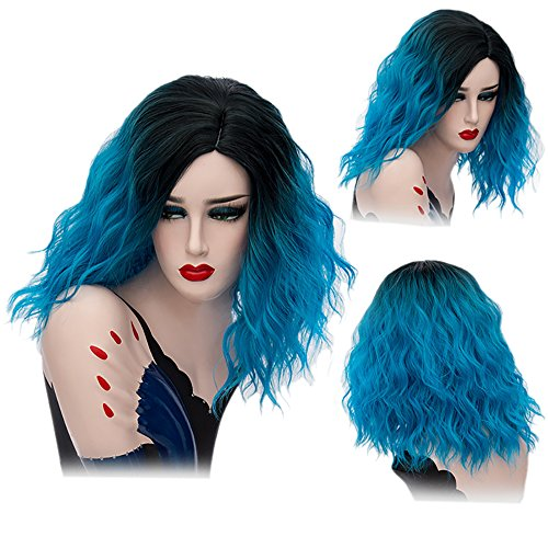 Colorwigy Cosplay Wigs Short Curly Wig Halloween Two Tone Colored Heat Resistant Synthetic Hair Cosplay Wig Center Part for (Discount Halloween Wigs)