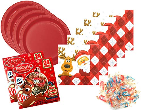 Christmas Theme Holiday Party Supply for 48 Guests - Santa and Reindeer - Includes Plates, Napkins and Mini Candy Canes