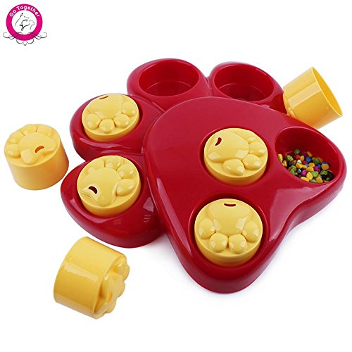 Bosun(TM) Multifunction Pet Dog Bowl Feeder 7 Holes Dog Paw Educational Toys Puppy Cat Food Puzzle Toys