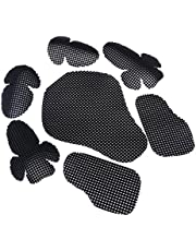 7Pcs Motorcycle Removable Shoulder Elbow Pads Back Guards Safety Body Protective Gear Set Fit for Cycling Skating, Black