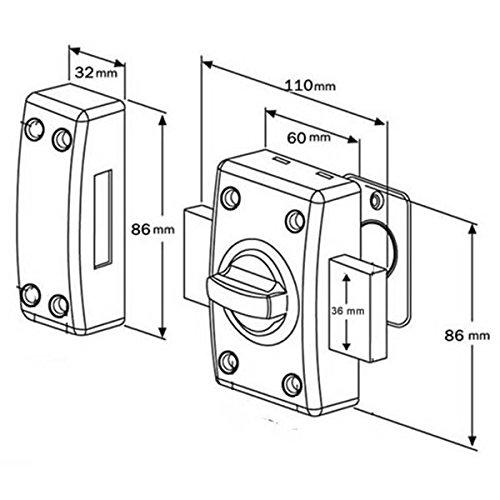 Paire de verrous de porte /à bouton Cylindre 45 mm Double verrou sentrouvrant avec 4 cl/és uniques Bricard