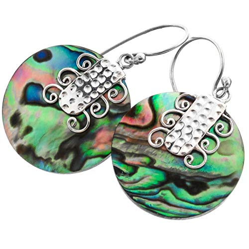 - 1'' Cool Round PAUA Abalone Shell 925 Sterling Silver Earrings YE-1546