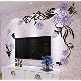 DIY beauty flower vine Arcylic 3D Wall Stickers Crystal Decal Living room bedroom TV background Decor mm