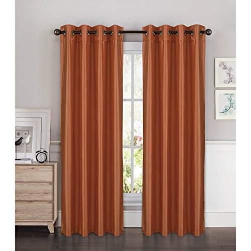 Window Elements Kim Faux Silk Extra Wide 108 x 84 in. Grommet Curtain Panel Pair, Terracotta