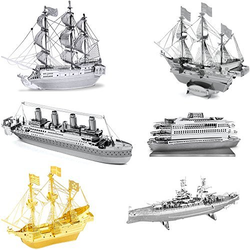 Metal Earth 3D Metal Model Kits - Ships - Black Pearl - Titanic - Golden Hind - Commuter Ferry - USS Arizona - Gold Golden Hind - 6 Piece Bundle