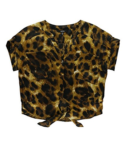 XOXO Womens Slouch Leopard Button Down Blouse, Brown, X-Small