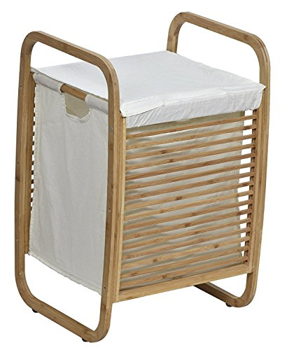 EVIDECO Laundry Hamper Basket Clothing Organizer Bamboo White Fabric, Bamboo/Beige from EVIDECO