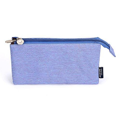 (BTSKY 3 Layers Large Capacity Pen Bag Zipper Pencil Case with Compartments Multifunctional Pen Holder Pencil Pouch Cosmetics Bag (Blue-Purple))