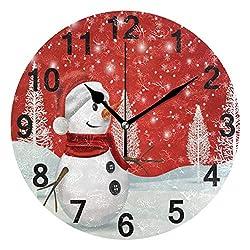ZZKKO Christmas Tree Snowman Wall Clock Quartz Analog Quiet, 9.5 Inch Round Desk Clock Battery Operated Easy to Read Decorative for Kitchen Bedroom Bathroom Living Room Classroom