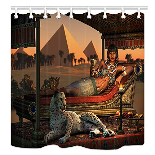 NYMB Egypt Leopard Shower Curtains Decor, Ancient Egyptian Sex Lady and a Tame Cheetah, Polyester Fabric Pyramid Shower Curtains, 69X70 in, Shower Curtain Hooks -