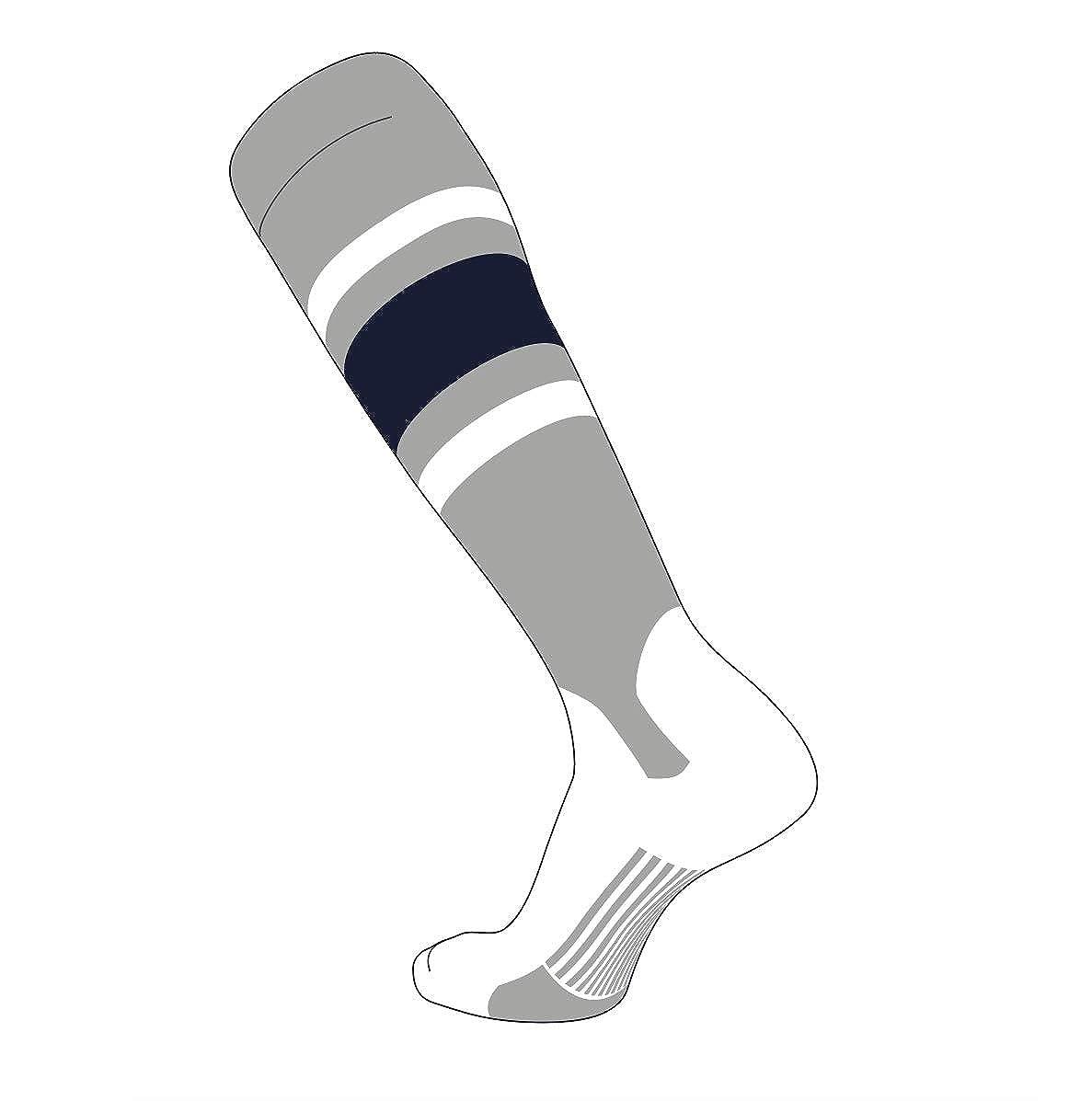 TCK Elite Baseball Knee High Stirrup Socks E, 5in Dk Navy White Grey
