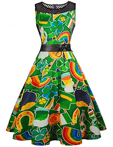 Beauta Womens St. Patricks Day Dress Vintage Green Shamrock Print Hollow O-Neck Sleeveless Cocktail Swing Party Dress -