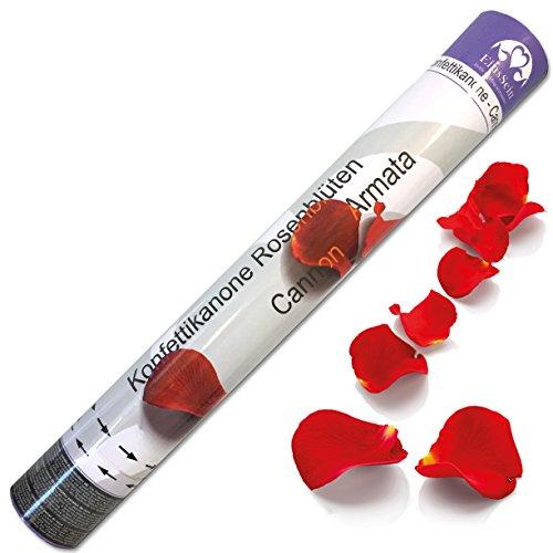 5x Konfettikanone Hochzeit Rosenblüten EinsSein® 40cm rot Konfetti Party Rosenblätter Konfettishooter Konfettibombe